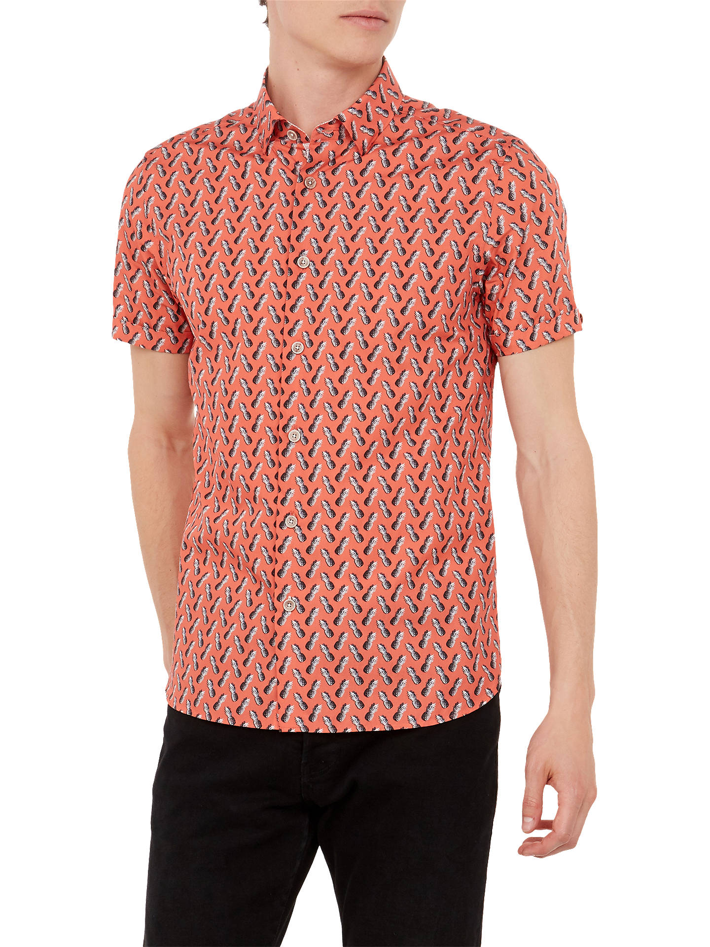 ababcace7f Buy Ted Baker Pineles Pineapple Short Sleeve Shirt, Orange, 4 Online at  johnlewis.