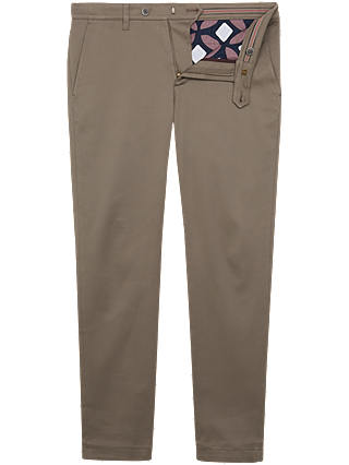Buy Ted Baker Rectang Slim Fit Textured Trousers, Natural, 30S Online at johnlewis.com