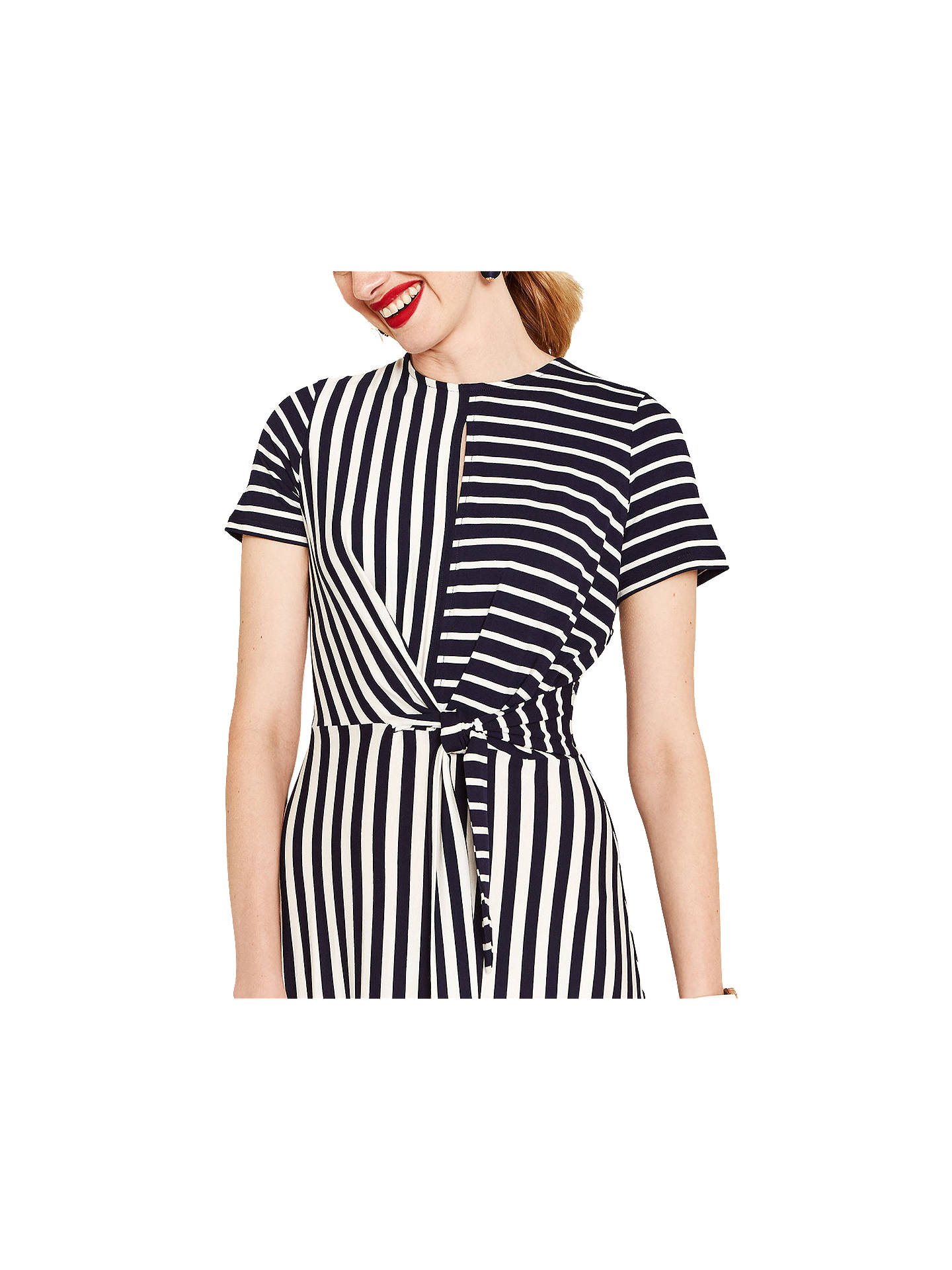 554cb55c67ac ... Buy Oasis Asymmetric Striped Dress, Blue/White, S Online at  johnlewis.com