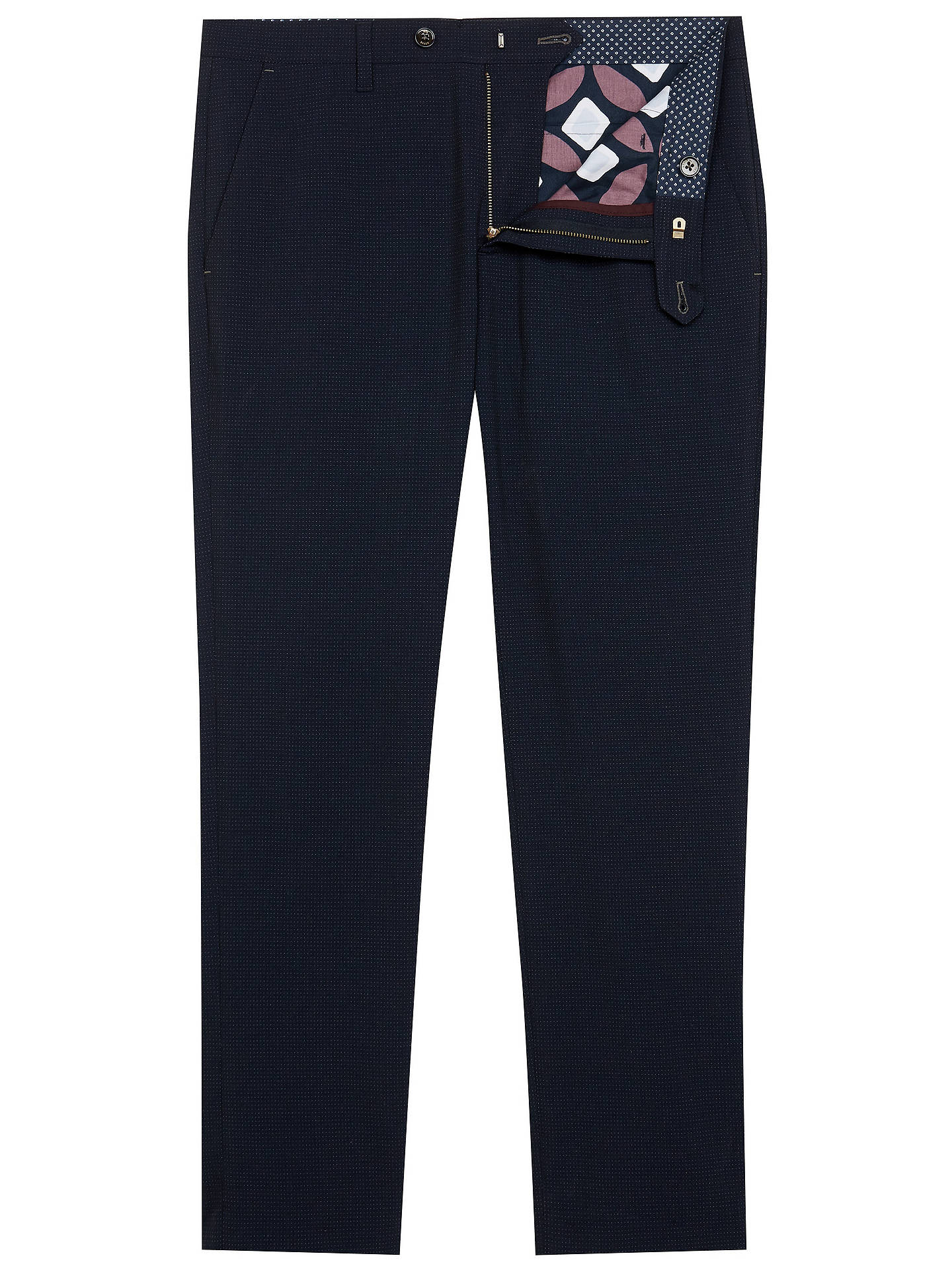 BuyTed Baker Lotsdot Slim Fit Spot Trousers, Blue, 38L Online at johnlewis.com