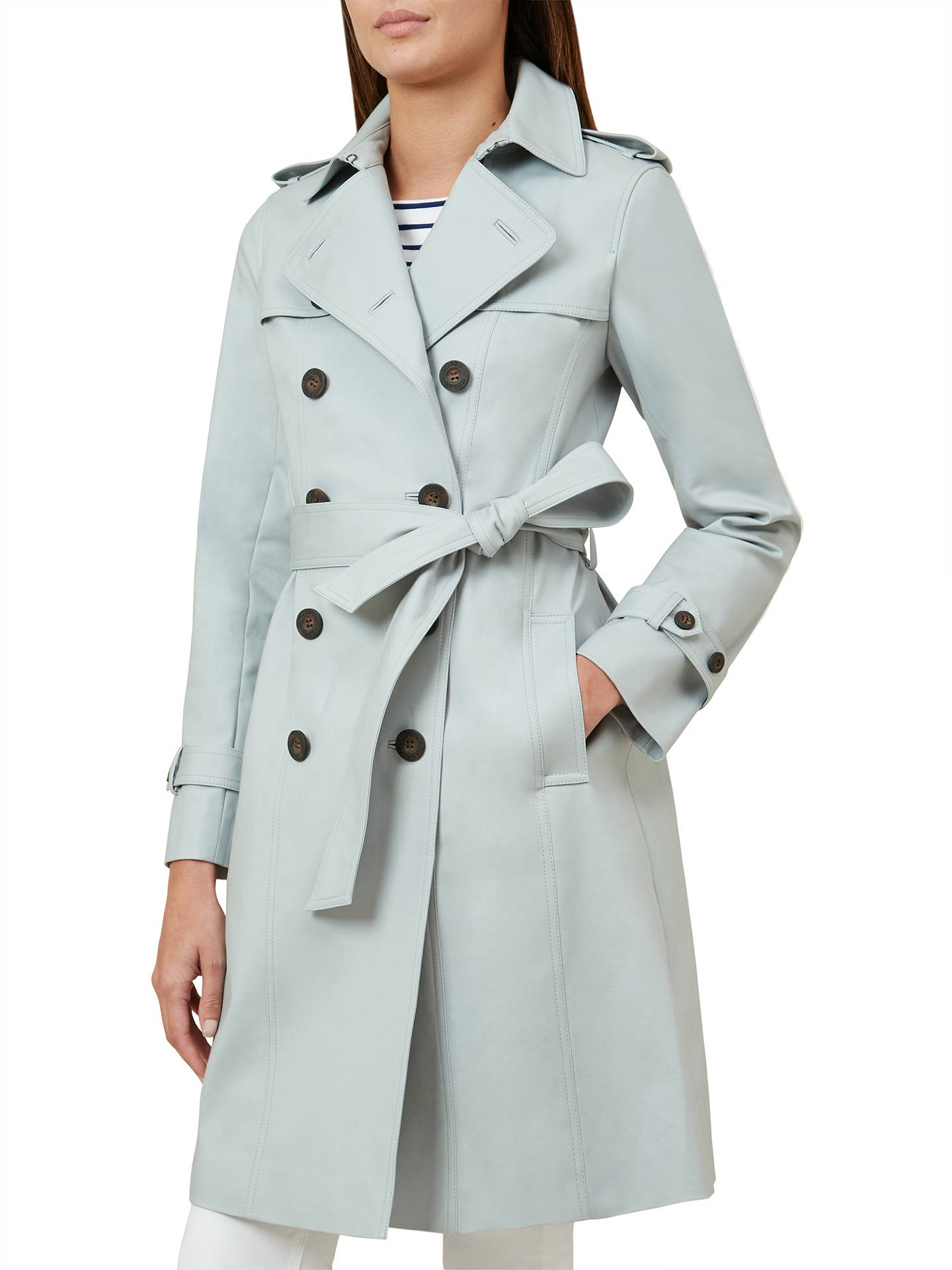 multiple colors shop for best classic style Hobbs London Saskia Trench Coat, Frost Blue at John Lewis ...