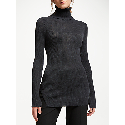 Modern Rarity J. JS Lee Merino Skinny Rib Roll Neck Jumper, Grey