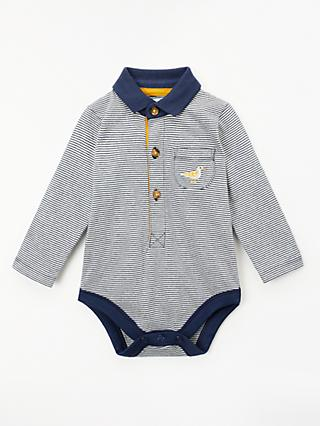John Lewis & Partners Baby Rugby Polo Stripe Seagull Bodysuit, Navy