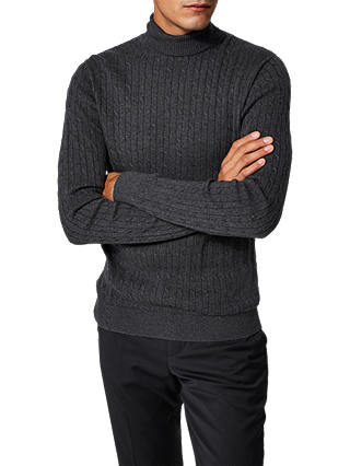 Buy Selected Homme Clayton Organic Cotton Roll Neck Jumper, Anthracite, L Online at johnlewis.com