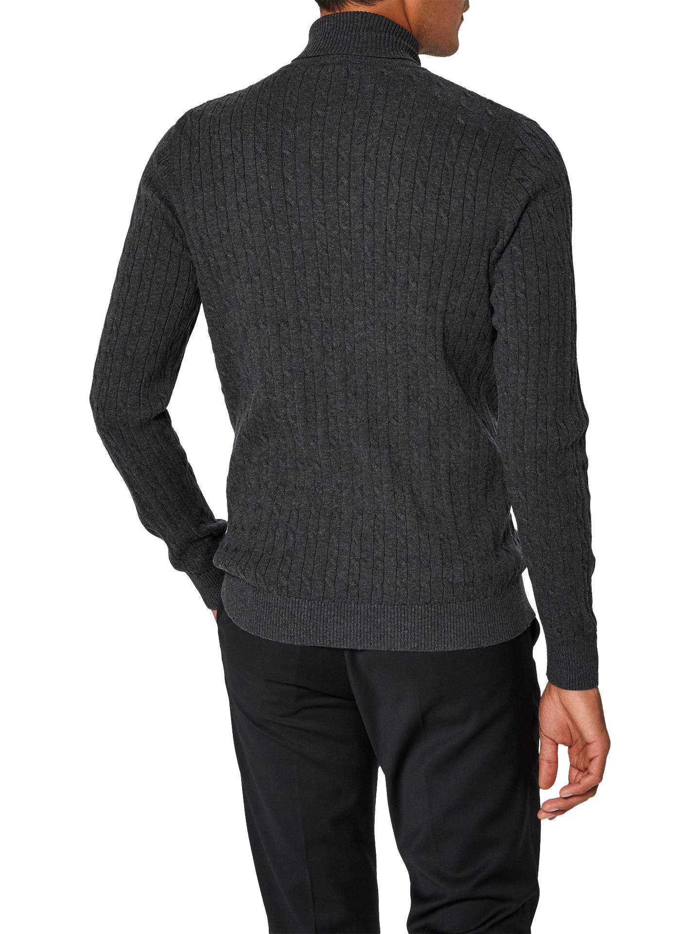 BuySelected Homme Clayton Organic Cotton Roll Neck Jumper, Anthracite, S Online at johnlewis.com