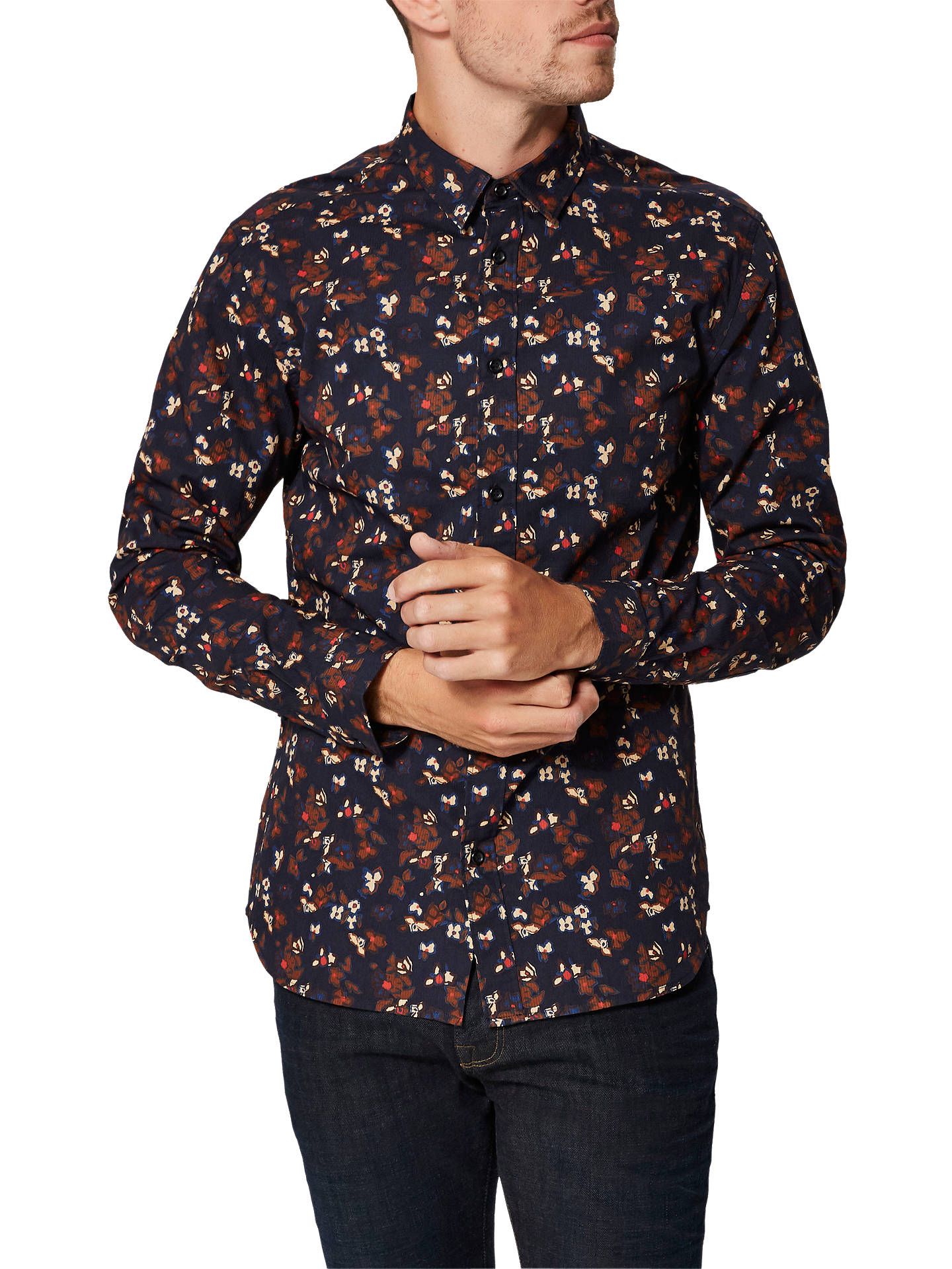 Buy Selected Homme Floral David Shirt, Barbados Cherry, XL Online at johnlewis.com
