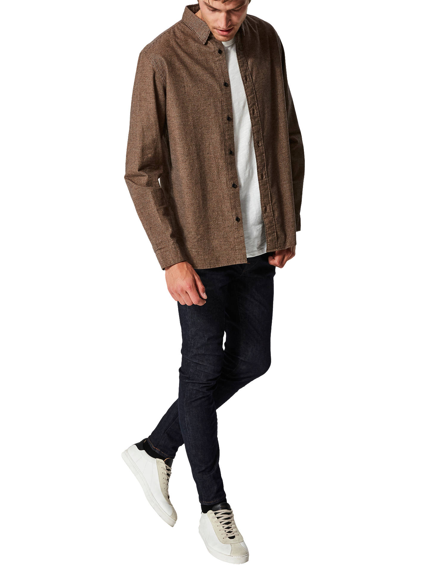BuySelected Homme Lucas Shirt, Black/Sand, M Online at johnlewis.com