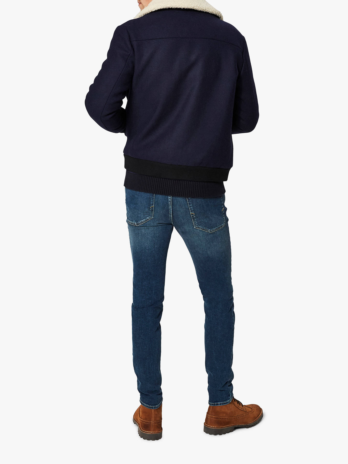 BuySelected Homme Splashproof Wool Jacket, Navy, M Online at johnlewis.com