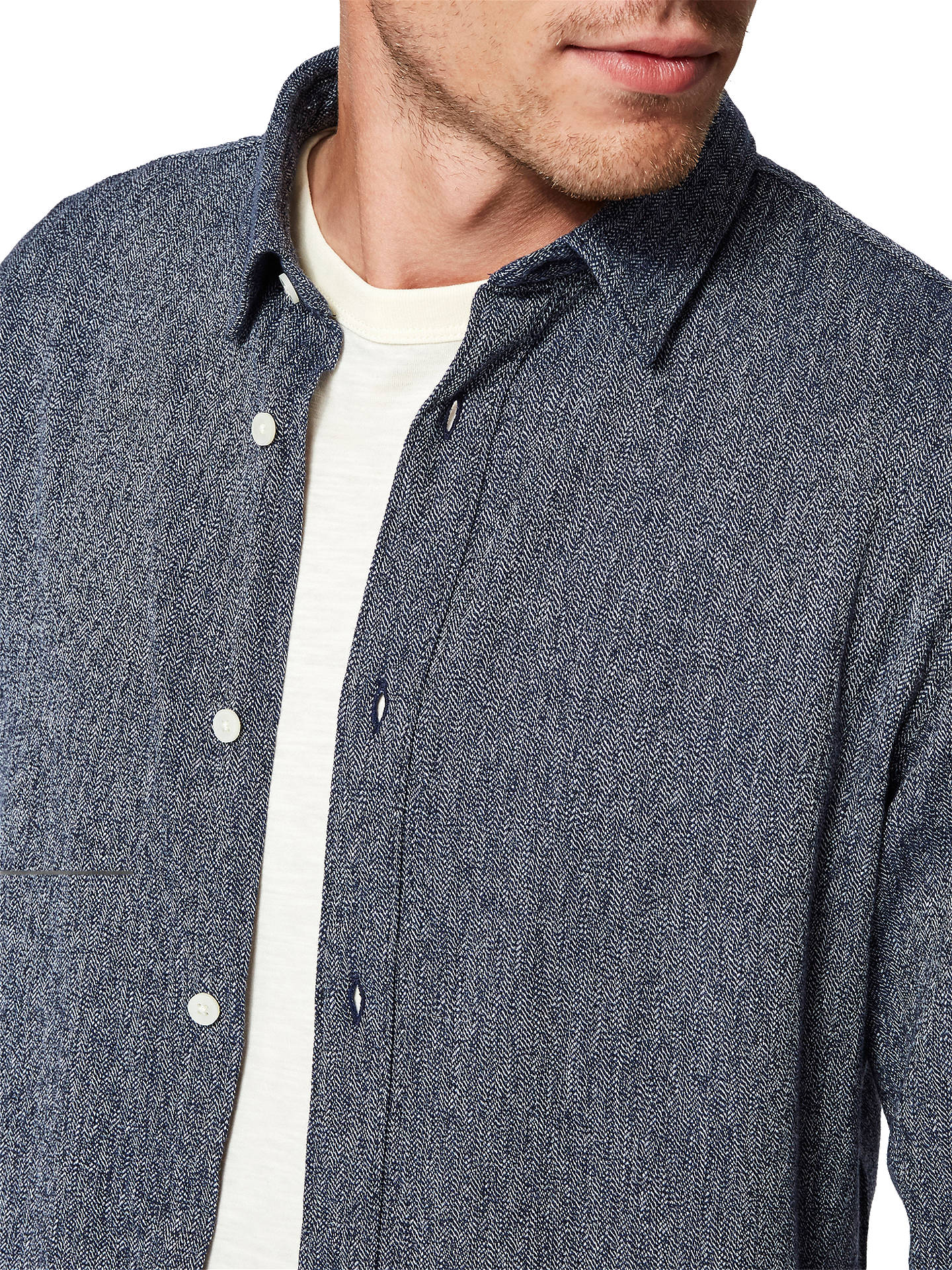 BuySelected Homme Gunnar Shirt, Dark Blue Structure, M Online at johnlewis.com