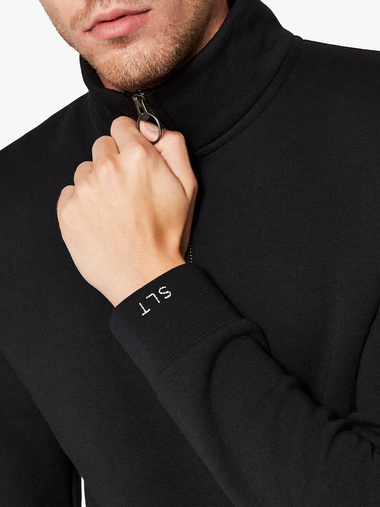 Buy Selected Homme Rob Zip Neck Sweatshirt, Black, S Online at johnlewis.com