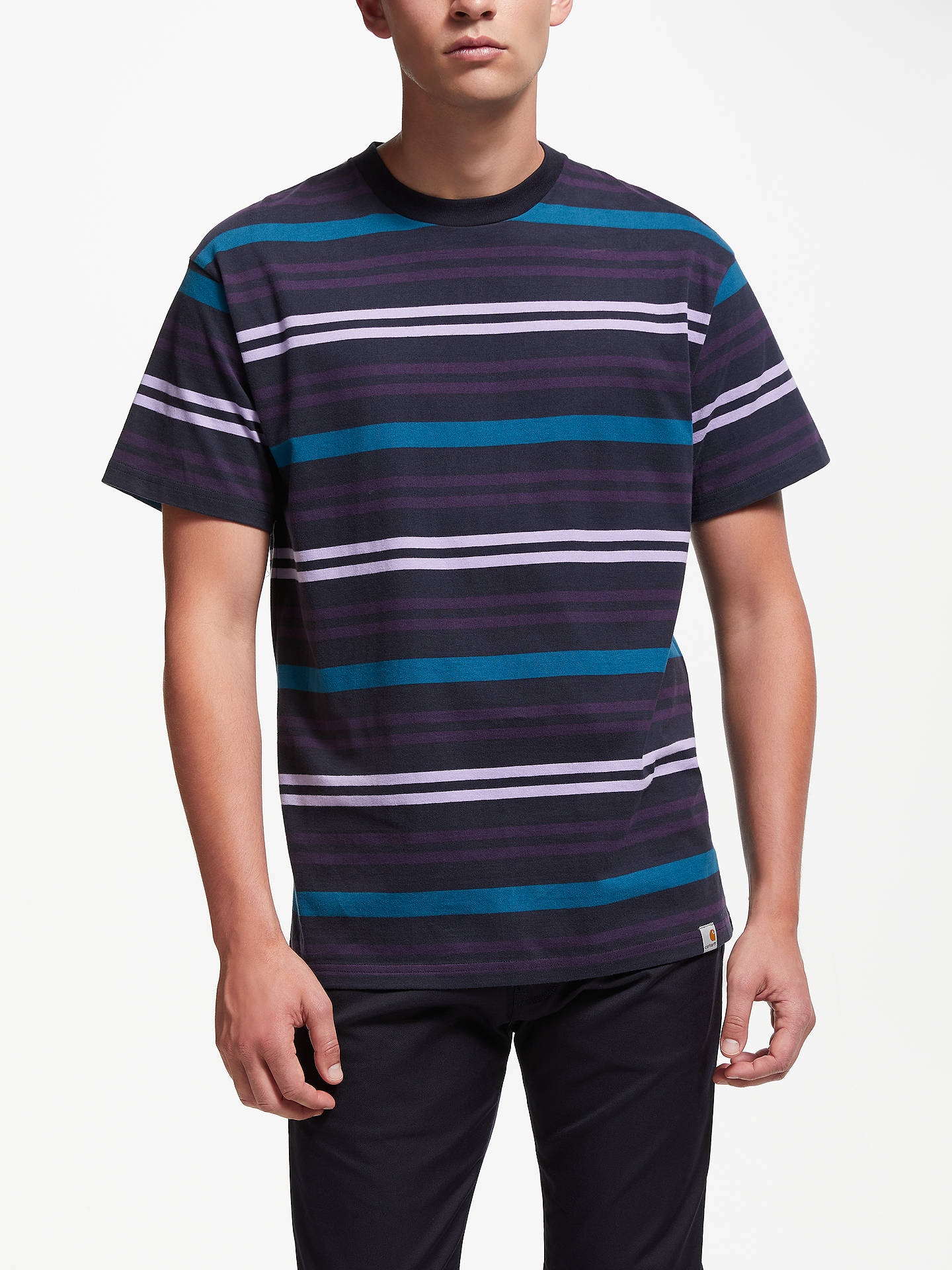 22b3258b8e14 Buy Carhartt WIP Kress Stripe Short Sleeve T-Shirt, Dark Navy, M Online ...