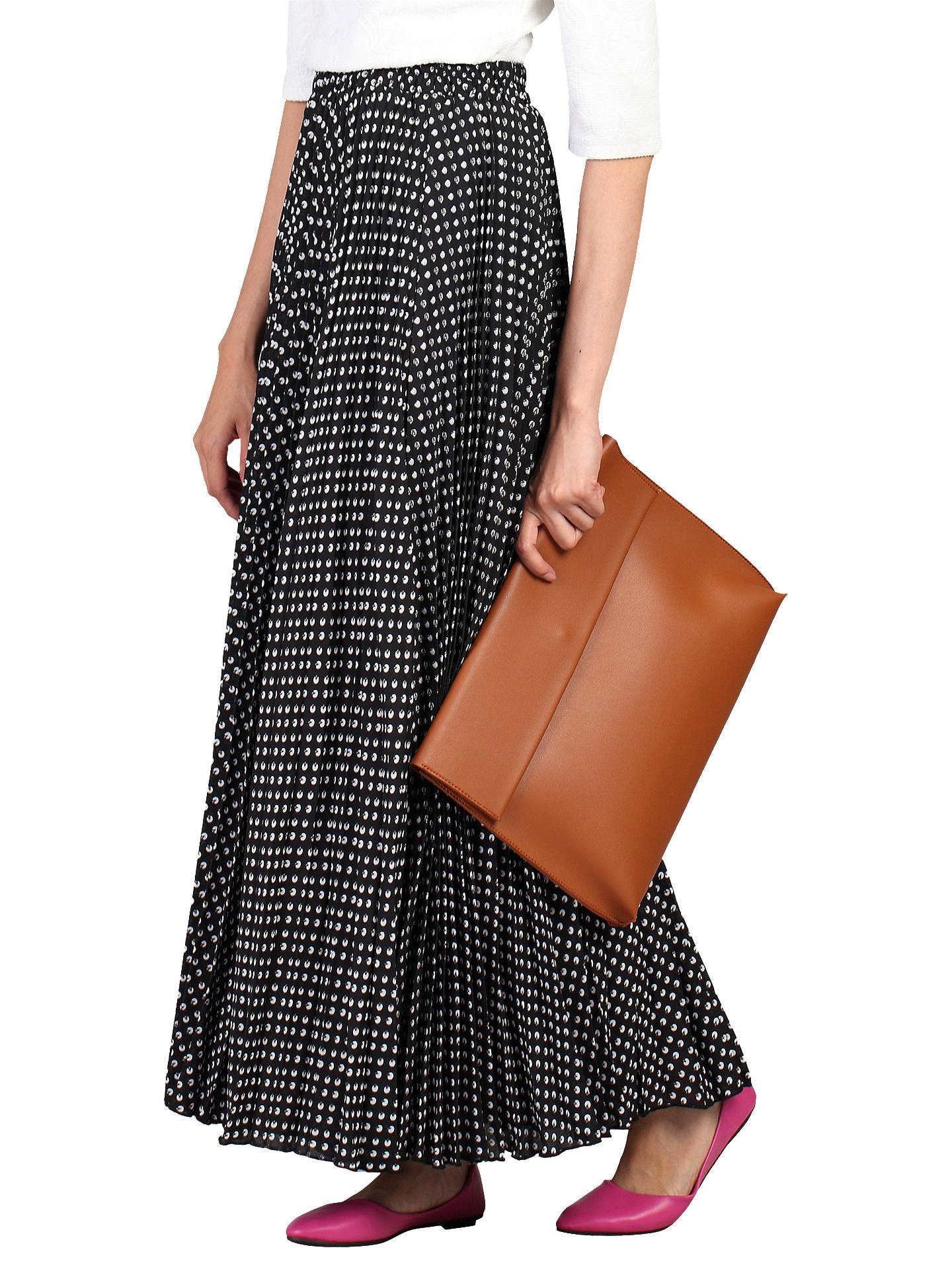 0bdd33d76 Buy Jolie Moi Pleated Polka Dot Maxi Skirt, Black, 16 Online at johnlewis.