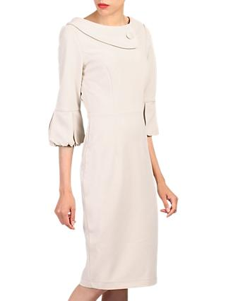 Jolie Moi Bell Sleeve Wrap Collar Dress, Beige