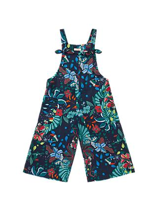 Jigsaw Girls' Palm Beach Print Dungarees, Navy