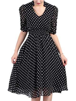 Jolie Moi Retro Tea Dress, Black/Red