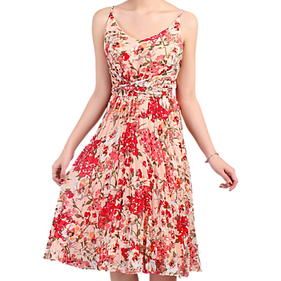 Jolie Moi Floral Pleated Dress, Coral Pink