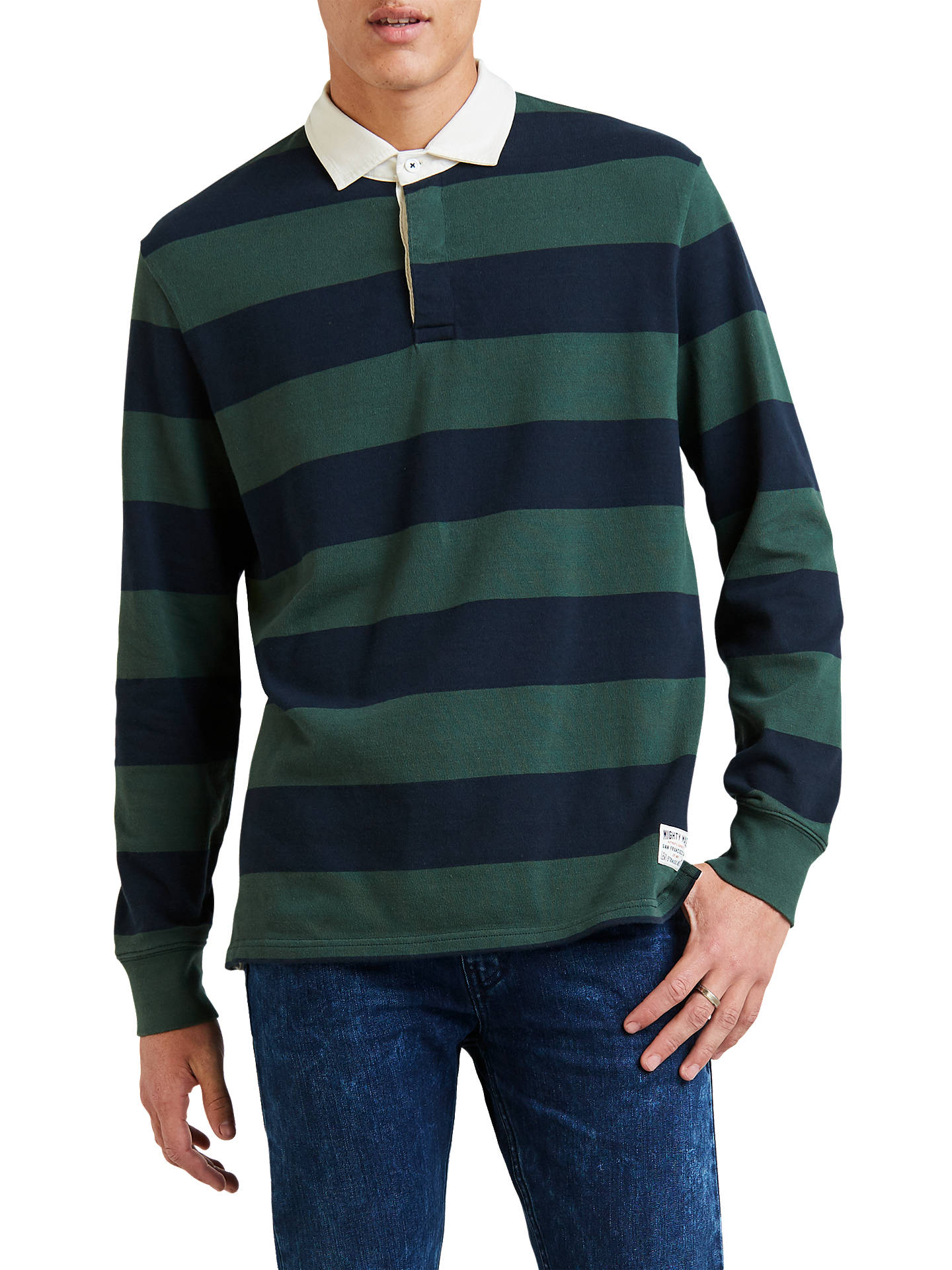 1f6b888b34f Buy Levi's Long Sleeve Stripe Rugby Shirt, Sky Captain/Python, S Online at  ...