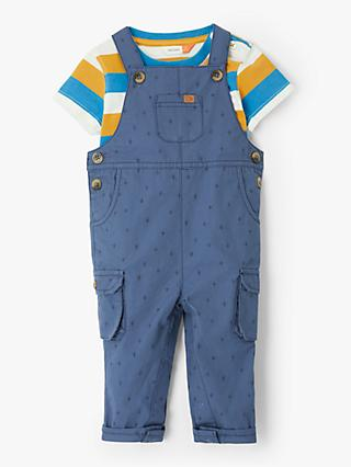 John Lewis & Partners Baby Dungaree and Striped T-Shirt Set, Blue