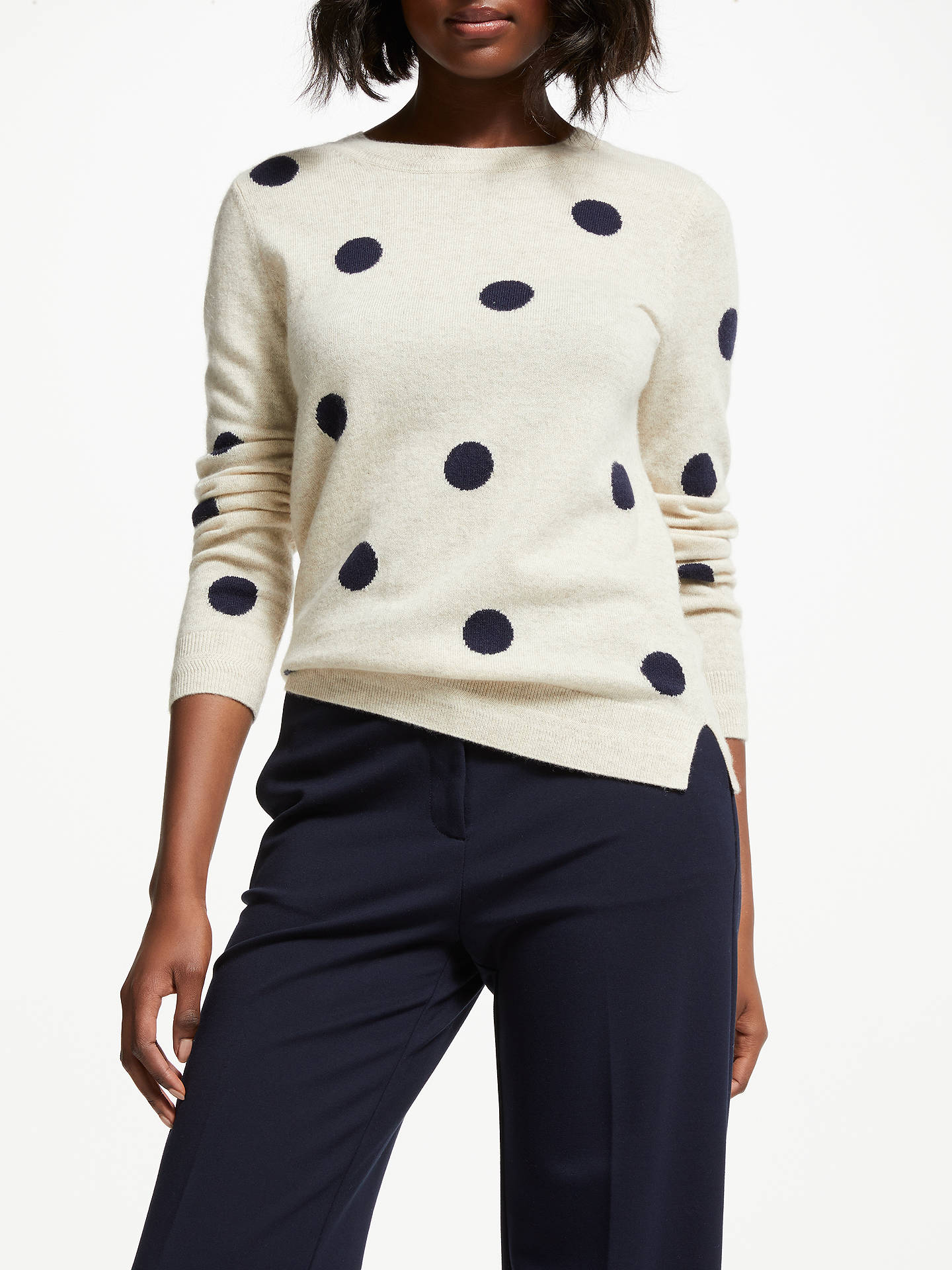 Buy Boden Cashmere Crew Neck Jumper, Navy/Oatmeal Spot, XS Online at johnlewis.com