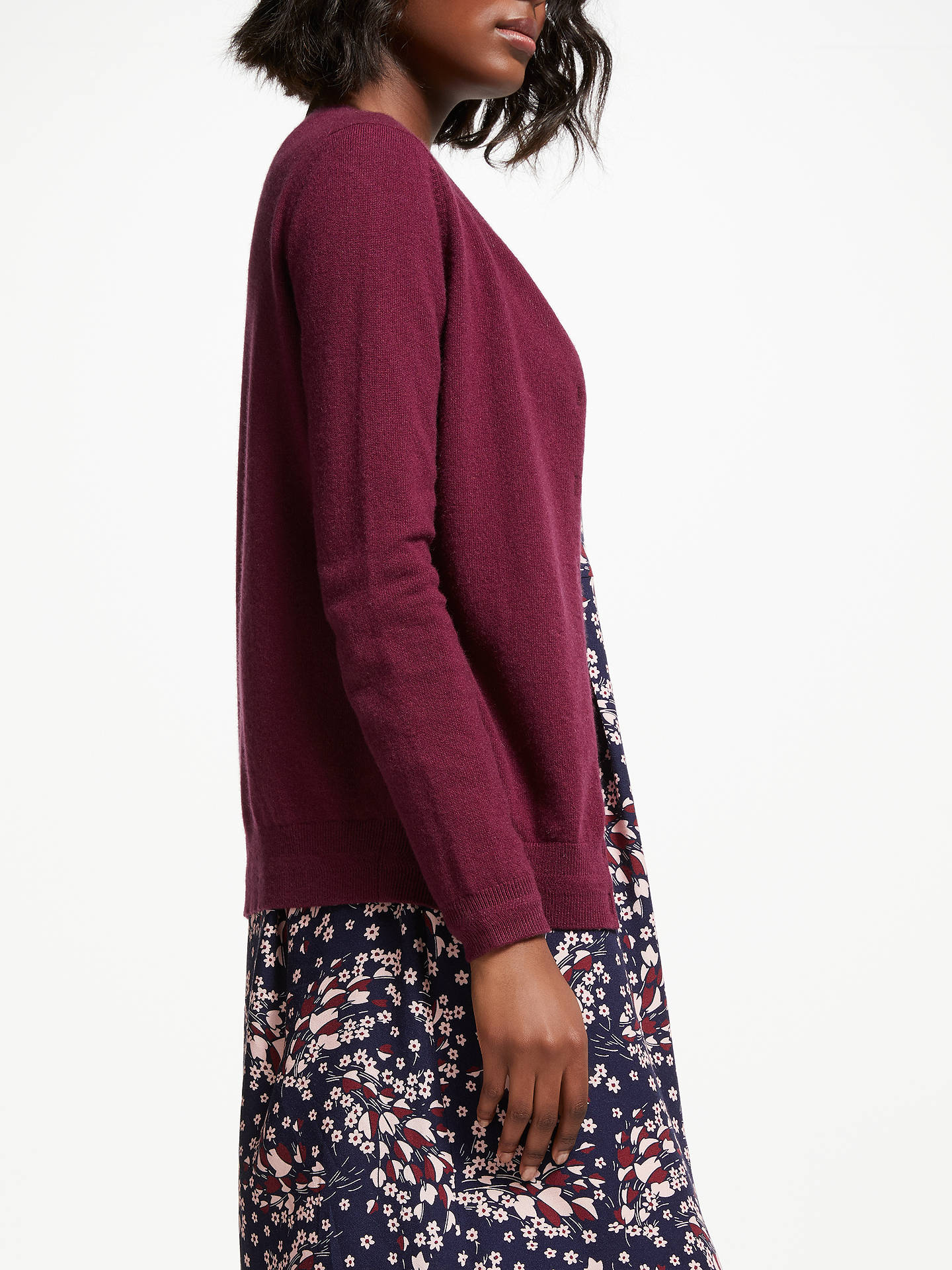 BuyBoden Cashmere Crew Cardigan, Mulled Wine, L Online at johnlewis.com