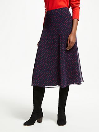 Boden Serena Midi Skirt, Navy With Red Spots