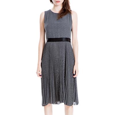 Max Studio Pleated Dress, Black/Ivory