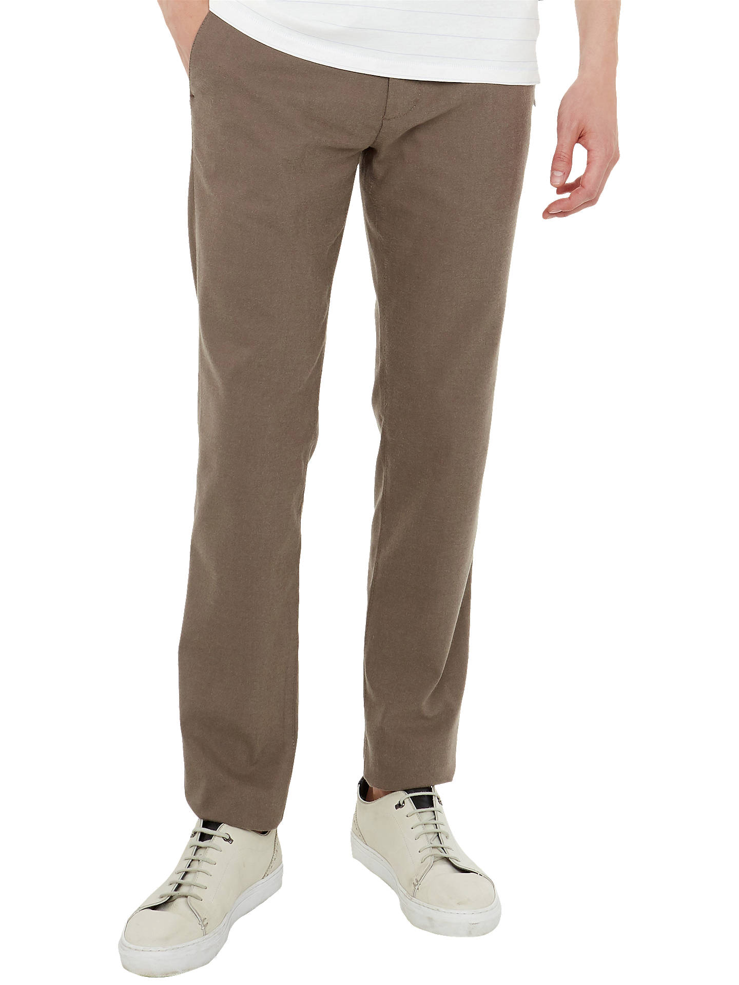 Buy Ted Baker Sempln Brushed Semi Plain Trousers, Natural, 28S Online at johnlewis.com