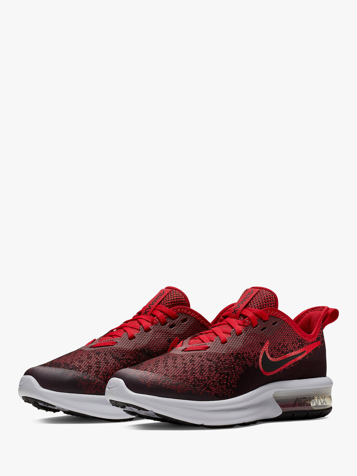 sports shoes 567ba 6590c ... Buy Nike Children s Air Max Sequent 4 Trainers, Black Red, 4 Online at  ...