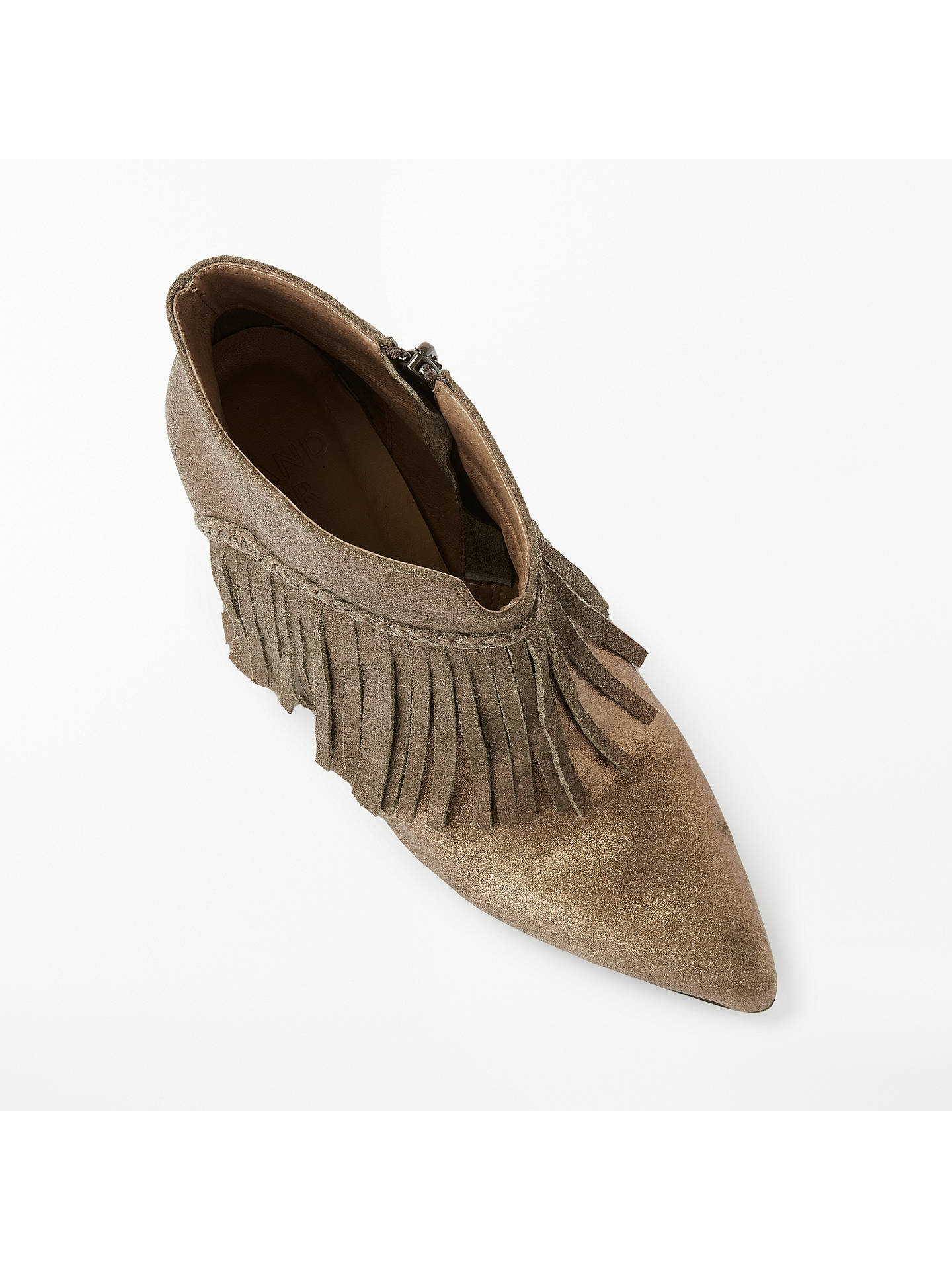 Buy AND/OR Orieta Fringe Detail Stiletto Heel Boots, Gold Suede, 8 Online at johnlewis.com