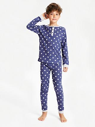 John Lewis & Partners Boys' Star and Stripe Print Pyjamas, Pack of 2, Blue
