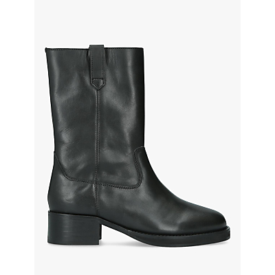 KG Kurt Geiger Terry Block Heel Calf Boots, Black Leather