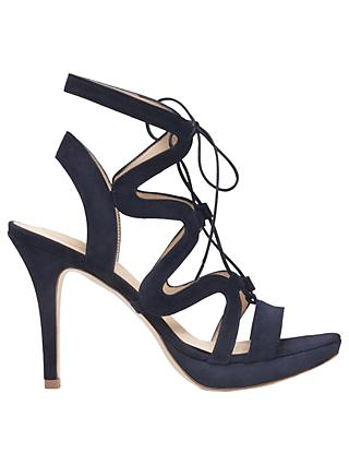 Sargossa Chic Lace Up Stiletto Heel Sandals, Navy Suede