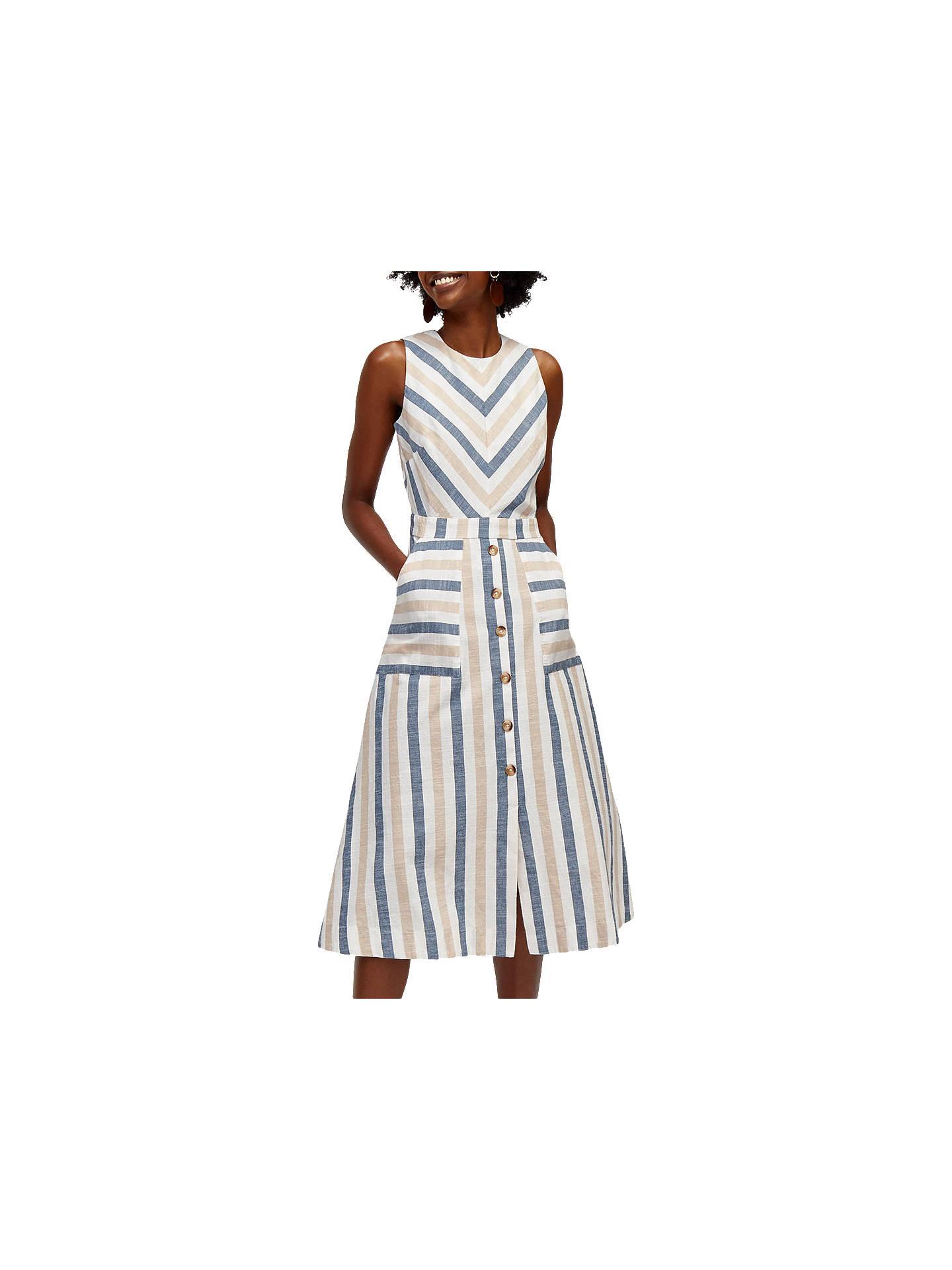Warehouse Chevron Stripe Midi Dress, Multi at John Lewis