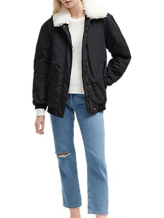 French Connection Githa Upside Aviator Jacket, Black