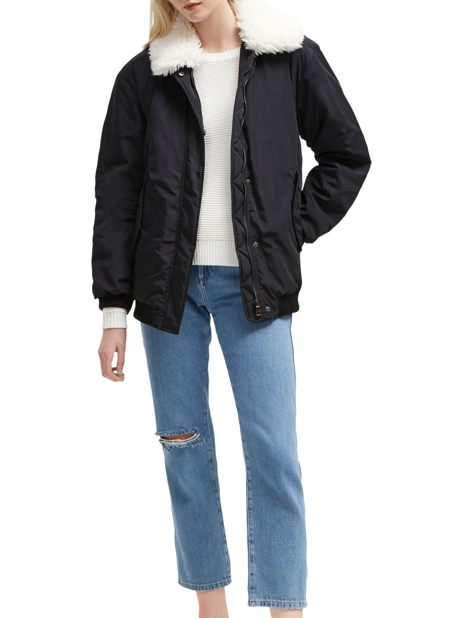 French Connection French Connection Githa Upside Aviator Jacket, Black