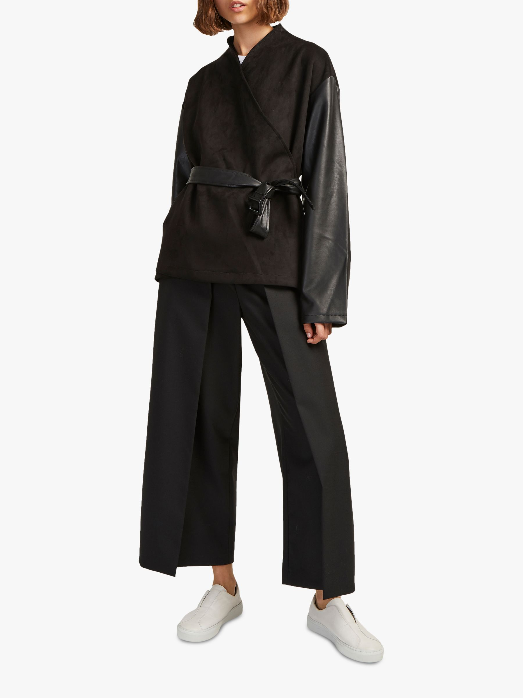 French Connection French Connection Arethusa Faux Suede Robe Jacket, Black