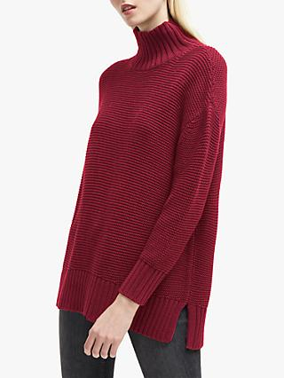 French Connection Mara Mozart High Neck Jumper, Baked Cherry