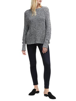 French Connection Mara Round Neck Jumper, Salt/Pepper