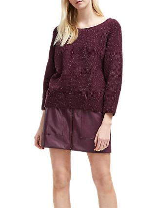 French Connection Ottoman Mozart Jumper, Plum Noir Nep