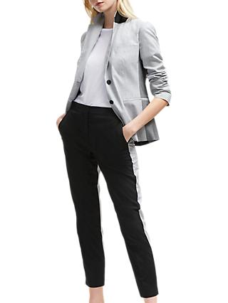 French Connection Colour Block Blazer, Black/Light Grey