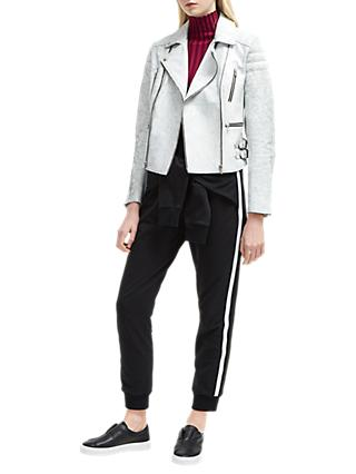 French Connection Emelisse Biker Jacket, Cracked White