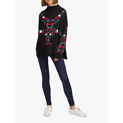 French Connection Emily Embroidered Jumper, Black