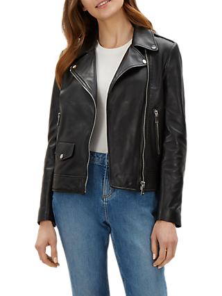 Jaeger Leather Biker Jacket, Black
