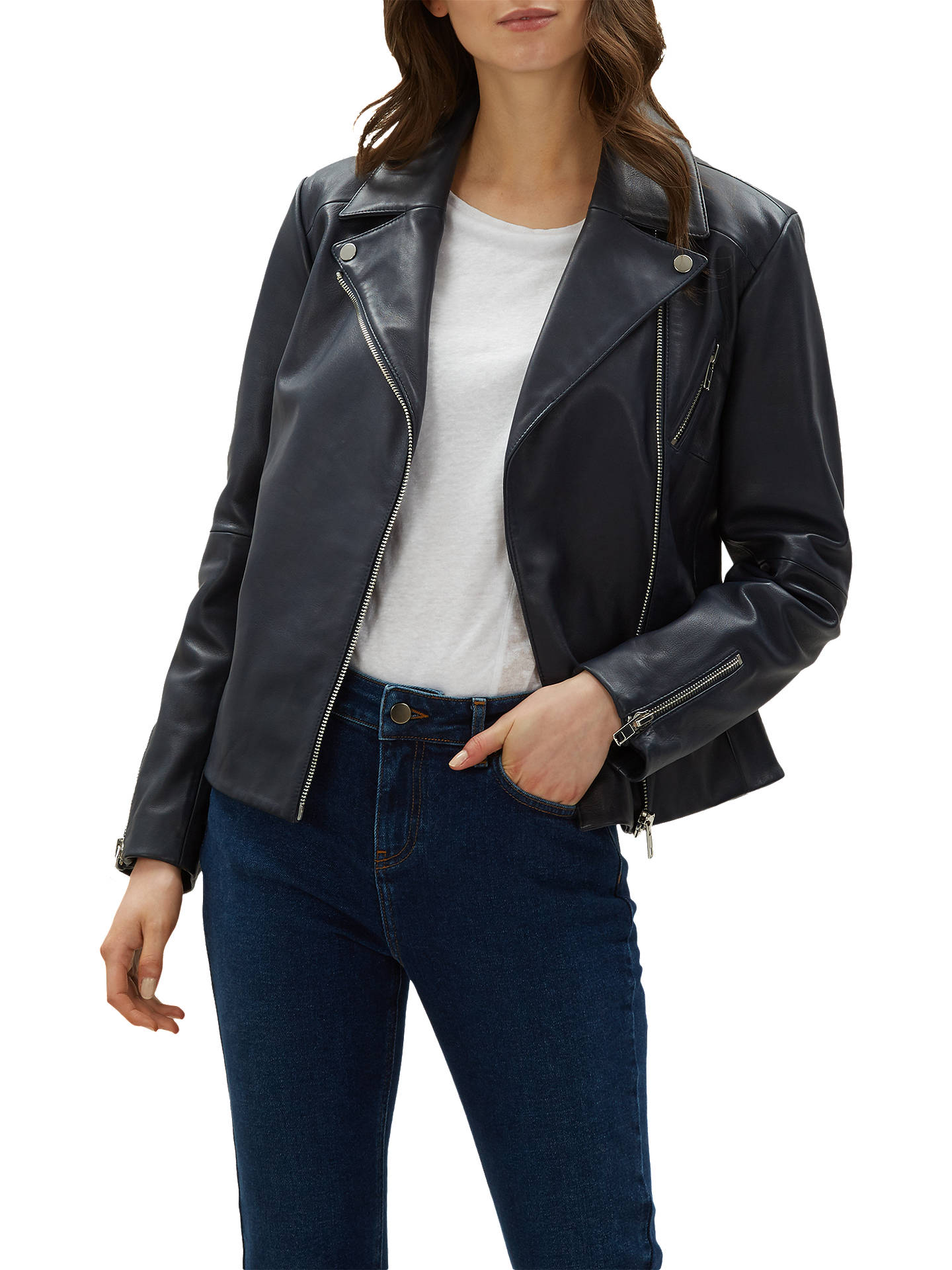 world-wide free shipping shop for official new concept Jaeger Essential Casual Leather Biker Jacket, Navy at John ...