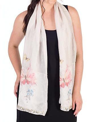 Chesca Butterfly And Floral Print Scarf, Pink Champagne