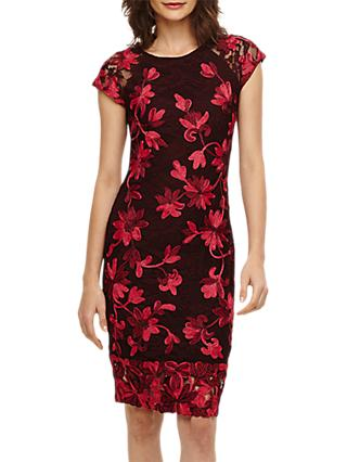 Phase Eight Chrissy Floral Embroidery Dress, Claret