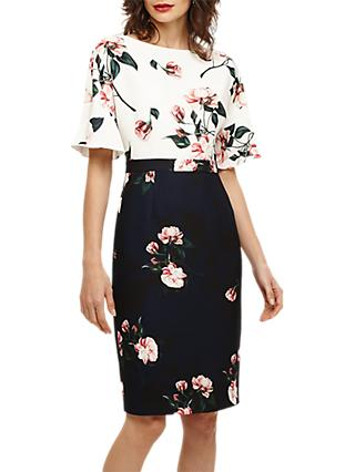 Phase Eight Heather Floral Dress, Ivory/Navy