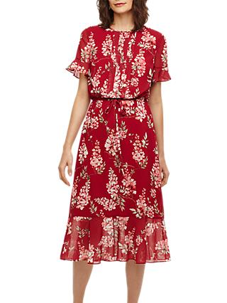 Phase Eight Helia Floral Dress, Bright Lipstick