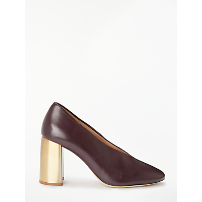 Modern Rarity Abree High Block Heel V Court Shoes, Burgundy