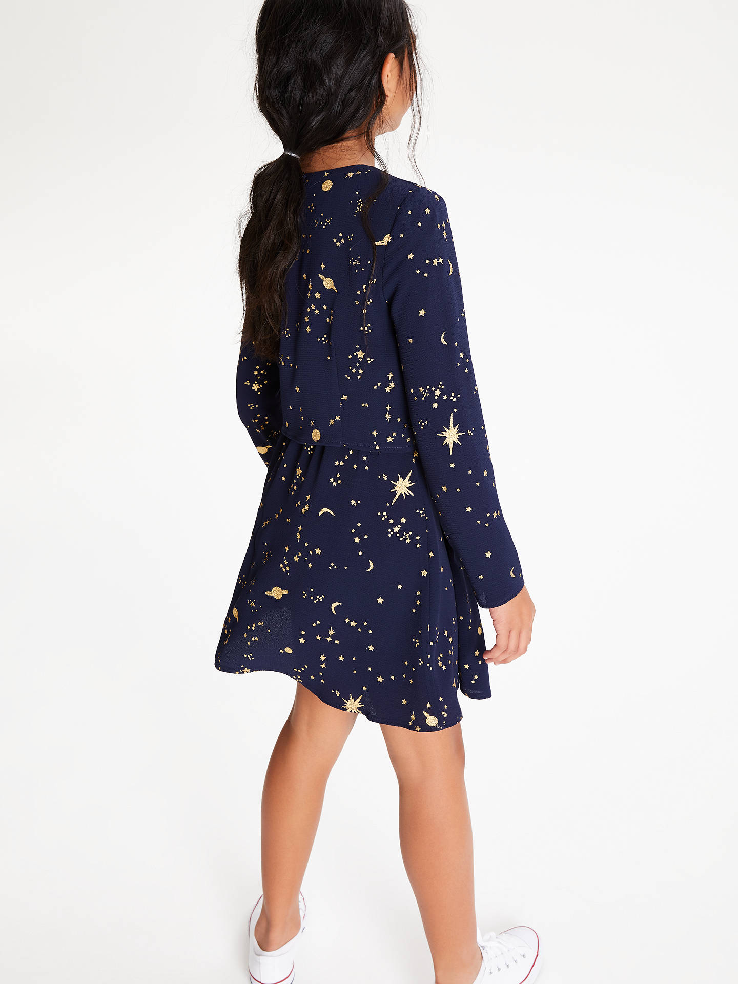 BuyJohn Lewis & Partners Girls' Celestial Print Dress, Navy, 8 years Online at johnlewis.com